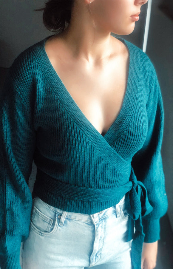 Golden Age Wrap Knit in Teal