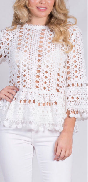 Cara Crochet Bell Sleeve Top