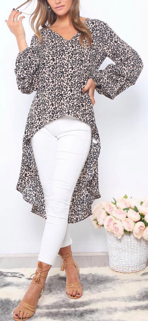 Jennifer Leopard Top in Beige