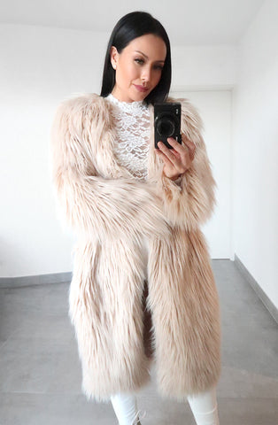 Sicily Faux Fur Jacket in Nude