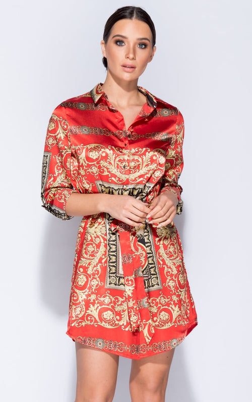 Royalty Scarf Print Dress