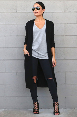 Trina Long Cardigan in Black