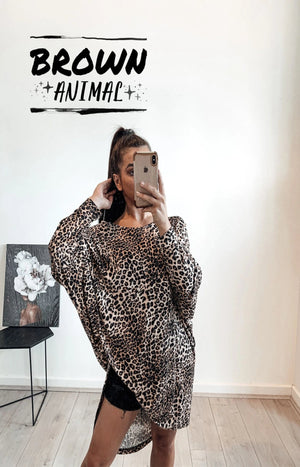 Animal Instincts Top in Brown Animal - PREORDER