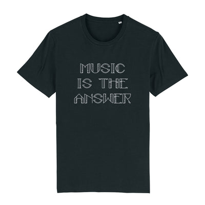Music Is The Answer White Text Men's Organic T-Shirt-Danny Tenaglia Store