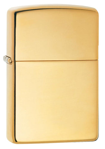 Vooraanzicht 3/4 hoek Zippo aansteker High Polished Brass basismodel