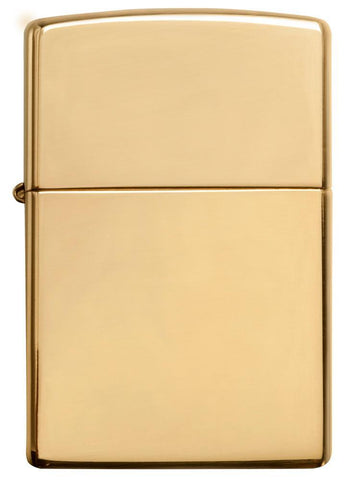 Vooraanzicht Zippo aansteker High Polished Brass basismodel