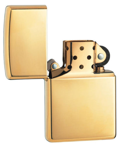 Vooraanzicht Zippo aansteker High Polished Brass basismodel geopend