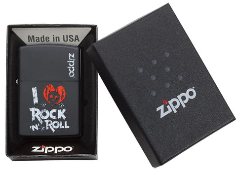 Zippo aansteker zwart I Love Rock n Roll slogan in open geschenkdoos