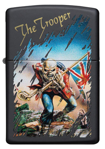 Vooraanzicht Zippo-aansteker zwart Iron Maiden Single Cover The Trooper