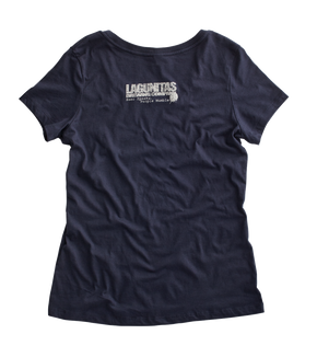This soft, scoop-neck acid wash tee features the beloved Lagunitas dog and a shout-out to our beloved Northern California hometown of Petaluma.  Color: Blue  Materials: 100% cotton