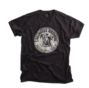 This soft, acid wash tee features the beloved Lagunitas dog and a shout-out to our beloved Northern California hometown of Petaluma.  Color: Black  Material: 100% Cotton, 100% locally printed t-shirt
