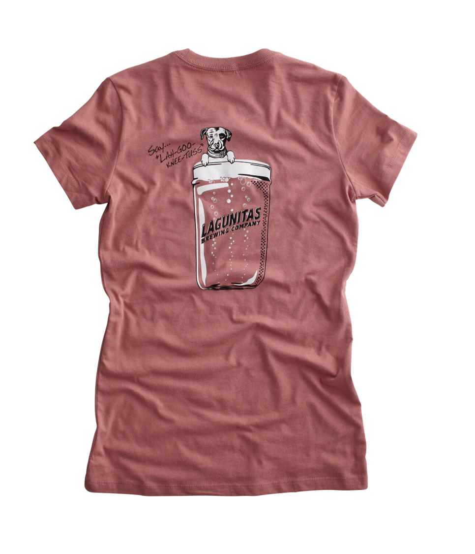"What do you get when you combine ""Beer Speaks"", the Lagunitas dog, and the iconic Lagunitas mason jar beer glass? One tasteful trifecta of a comfy tee.  Color: Mauve  Material: 100% Cotton"