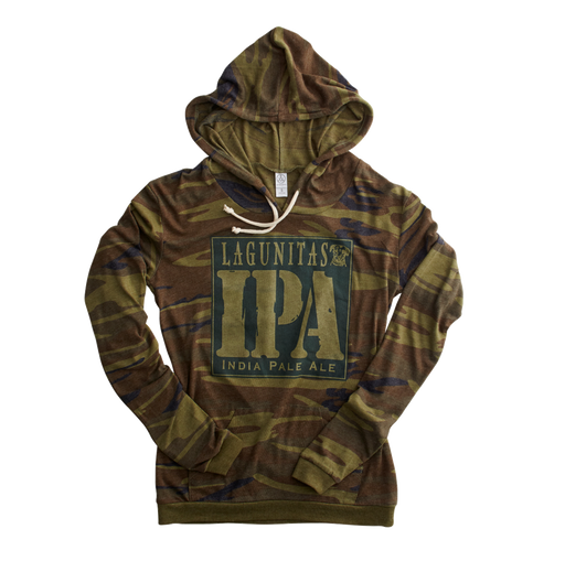 We've paired nature's classic pattern with craft beer's classic IPA. The result? A lightweight hoody that's the perfect layer addition anywhere you roam—from the wilds of the indoors to the serene chill of the outdoors.  Color: Camo Green  Material: 50% polyester, 38% cotton, and 12% rayon