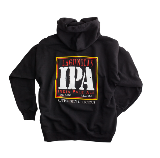 Ruthlessly Delicious. Devastatingly Classic. As the IPA that defined the style, this IPA hoody never goes out of style. From NorCal mornings to Chicago winters or celebrating a Summärq's Day anywhere in The Outer Laniakea, it's always good to have a hoody on hand.  Color: Black  Material: 90% cotton, 10% polyester
