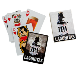 A fully-customized deck of Lagunitas beer playing cards featuring proportionally-sipped mason jars for all the Number Cards, and special art for each Face Card. Whatever you're playin', it's good to have friends!