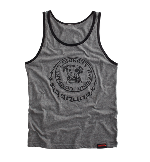 Open things up a bit and slip on the crown jewel of tank tops—our beer bottle 'crown' bottlecap featuring the Lagunitas dog, with black piping on the neck and sleeves.  Color: Grey  Material:  50% cotton48% polyester