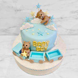Darling's Cupcake - Cake Baby Shower Boy Ourson