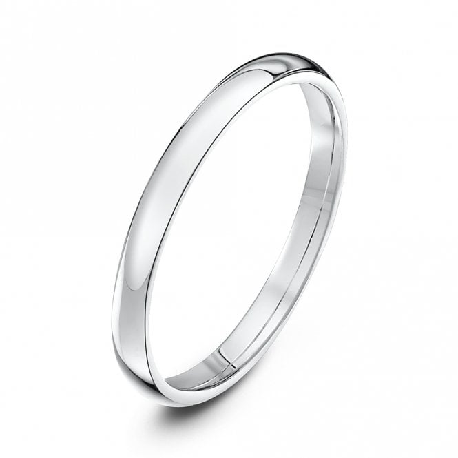 9ct White Gold Court Style Wedding Ring - 2mm