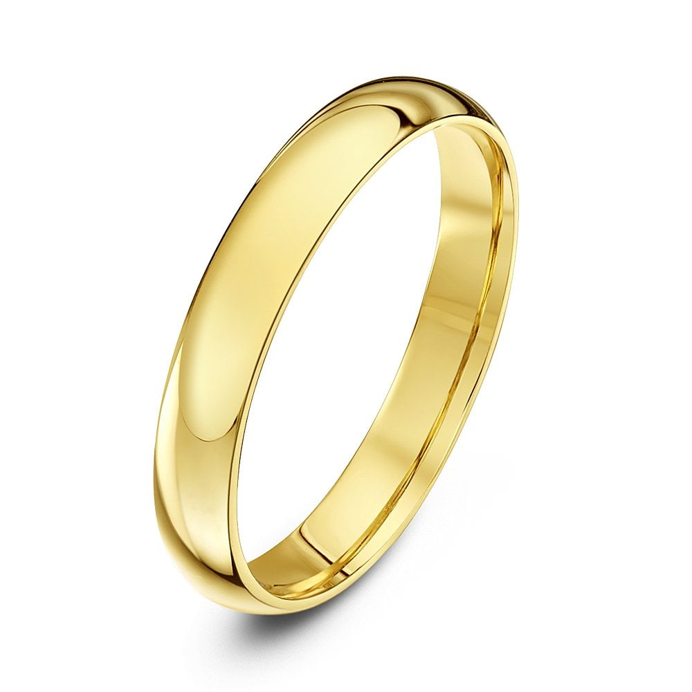 9ct yellow gold 3mm court wedding ring