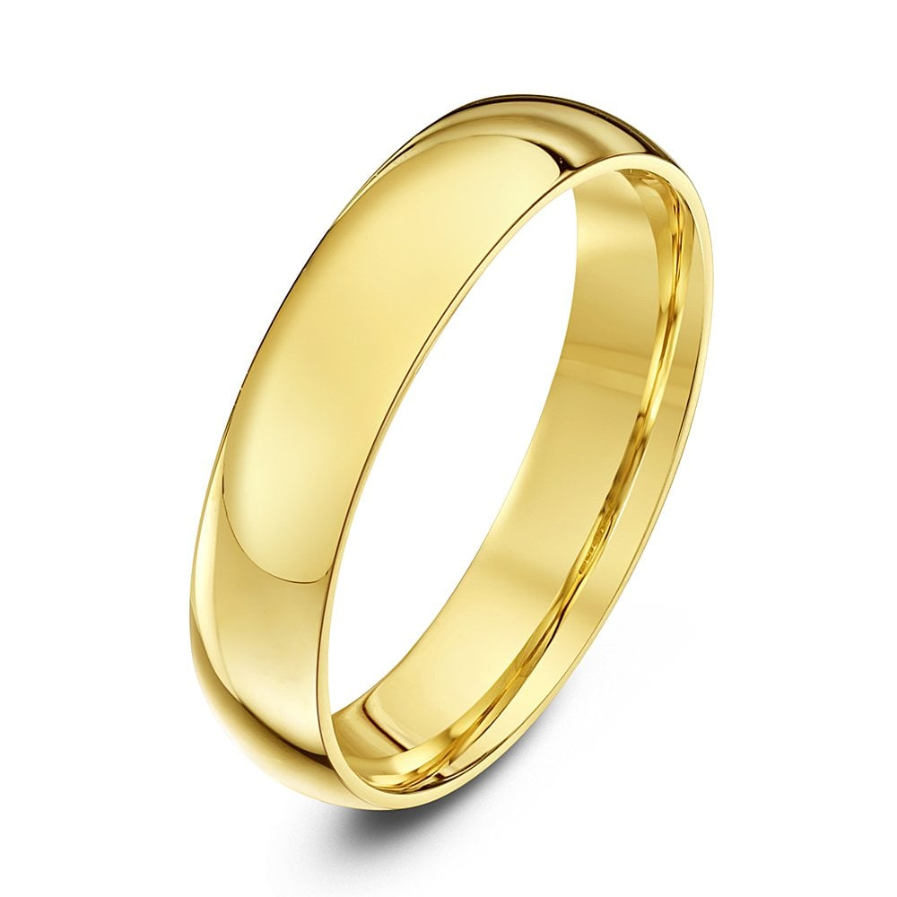 9ct Yellow Gold Court Style Wedding Ring - 4mm