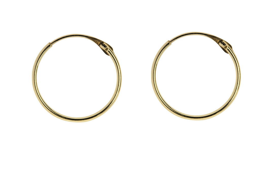9ct Gold Creole Hoop Earrings 13mm - Yellow Gold