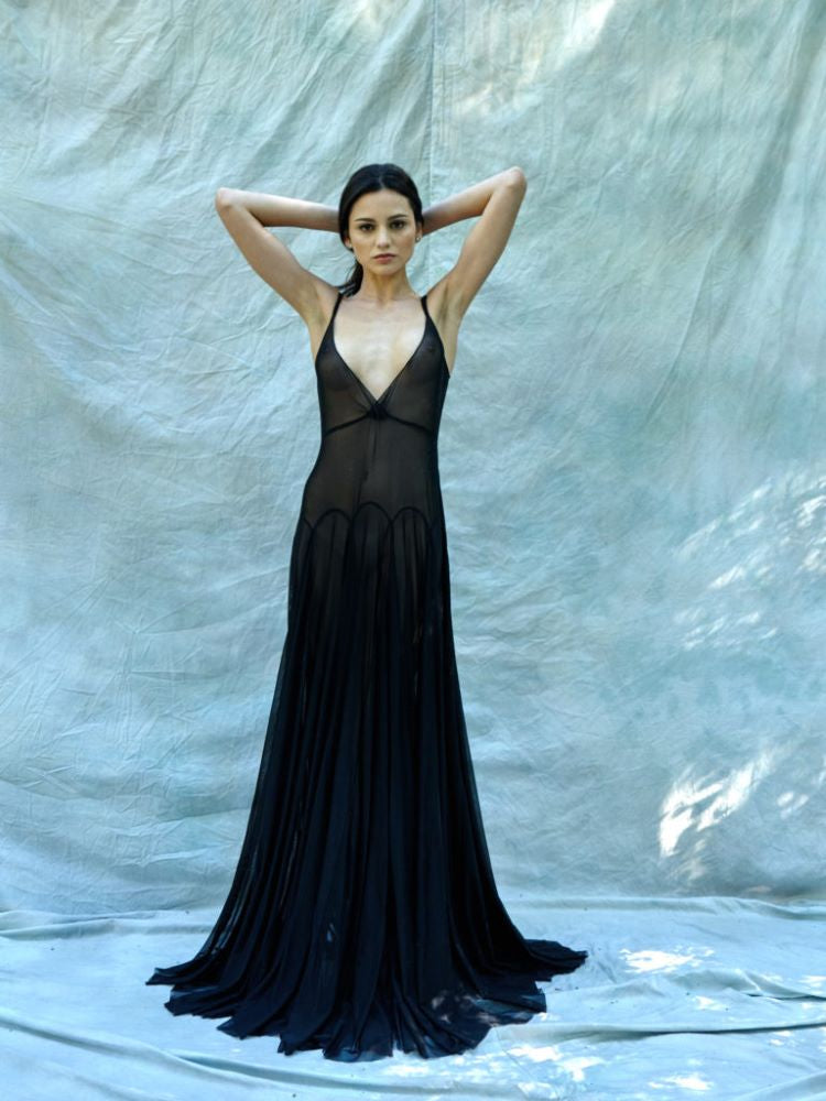 model-Flavia-gown-black-bespoke-beaded-Taryn-Winters-Lingerie