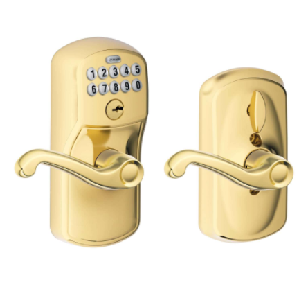Bright Brass Steel Electronic Keypad Entry Lock - AIVI-X