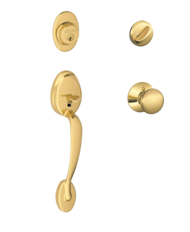 Traditional Bright Brass Handleset Right or Left Handed Lock