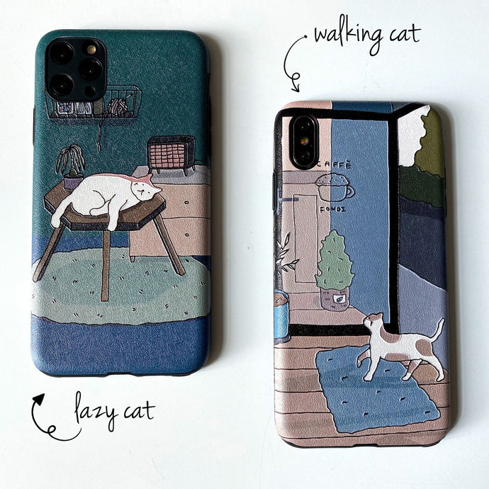 Cat Design Embossed Case for iPhone - Happiness Idea