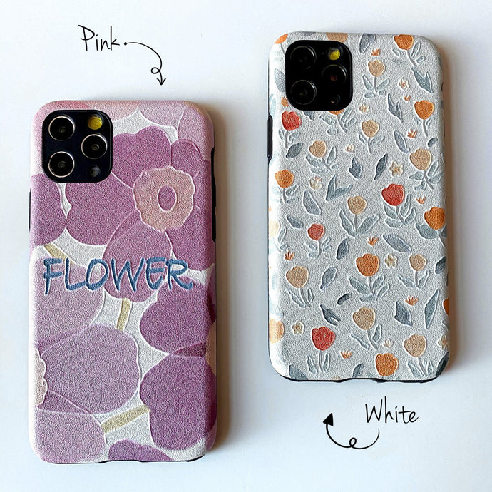 Flower Design Embossed Case for iPhone - Happiness Idea