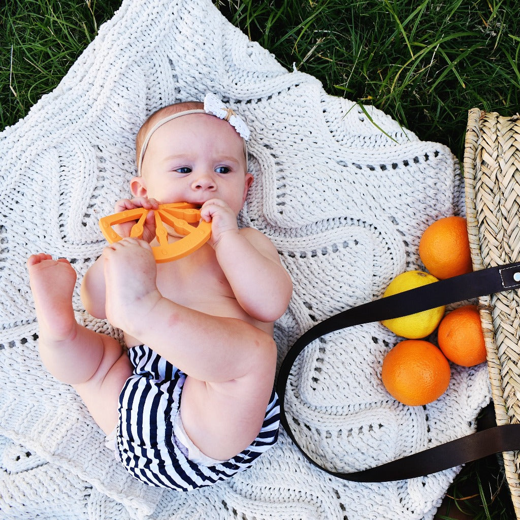 orange fruit silicone teether