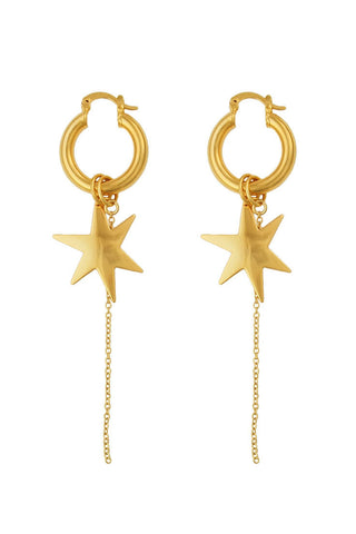 Baby Giselle hoop and star earrings (gold, silver)