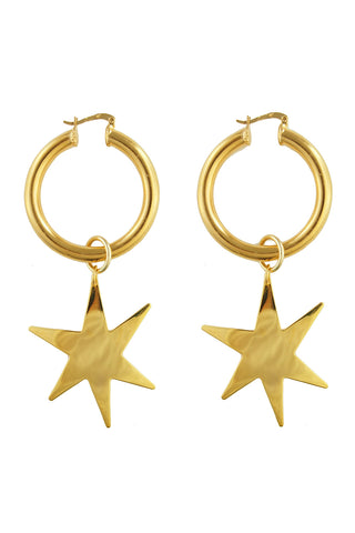 Giselle hoop and star earrings (gold, silver)