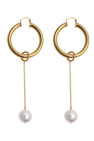 Requiem pearl hoop earrings - cream