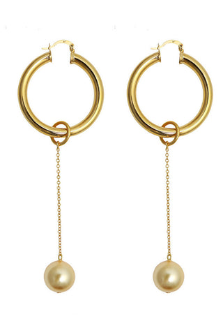 Requiem pearl hoop earrings - gold