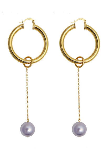 Requiem pearl hoop earrings - lilac