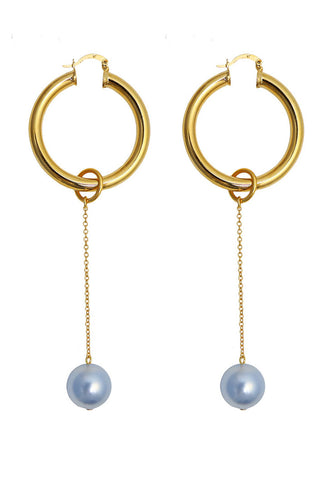 Requiem pearl hoop earrings - sapphire
