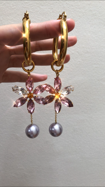 Orchida crystal flower and pearl hoops