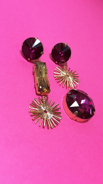 Sunray earrings - cerise