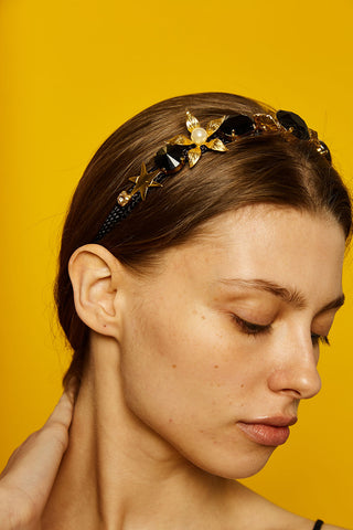 Nadia headband - black gold