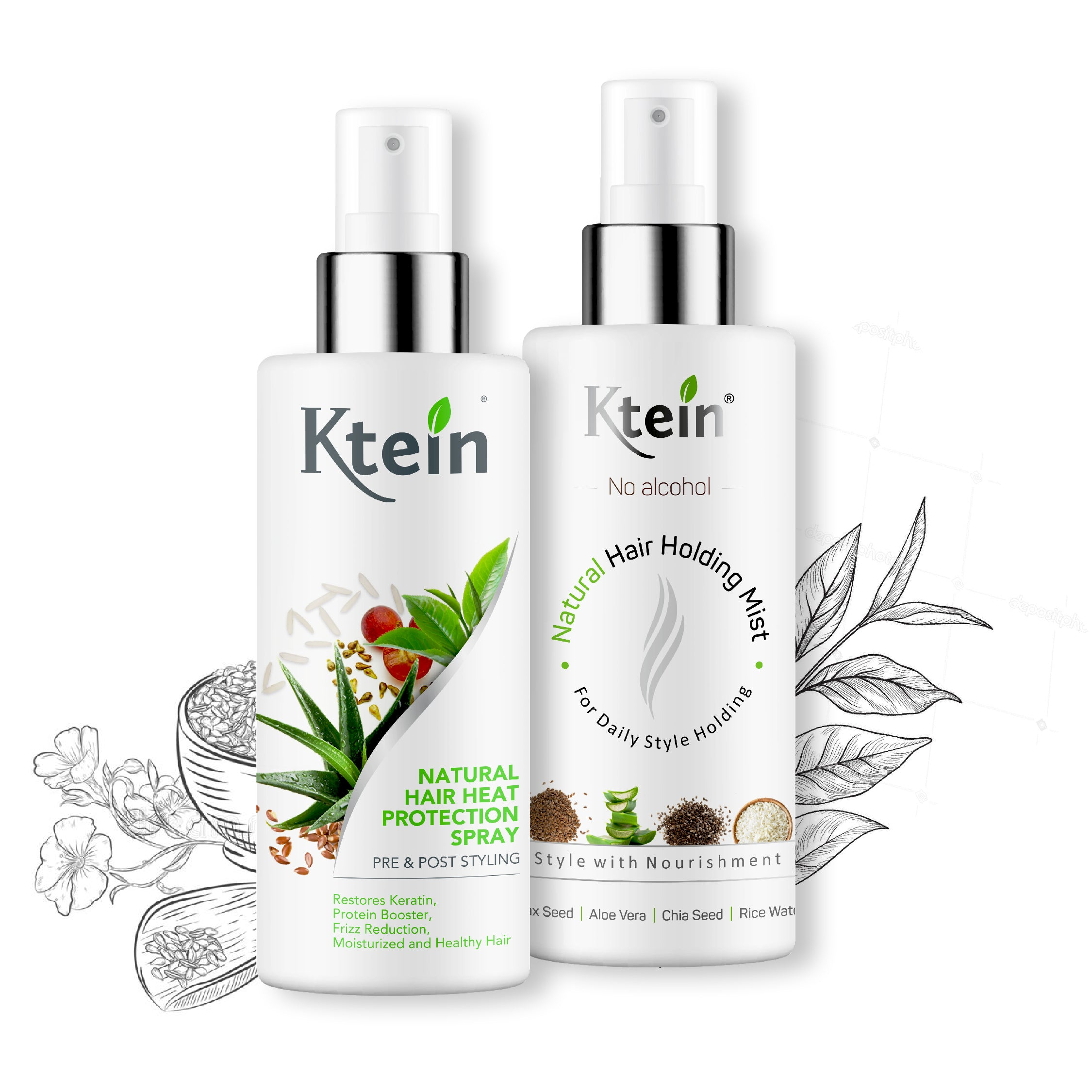 KTEIN HAIRSTYLE COMBO: Hair Heat Protection Spray 100ml + Hair Holding Spray 100ml - Ktein Cosmetics - Essence Of Natural Hair Care Products