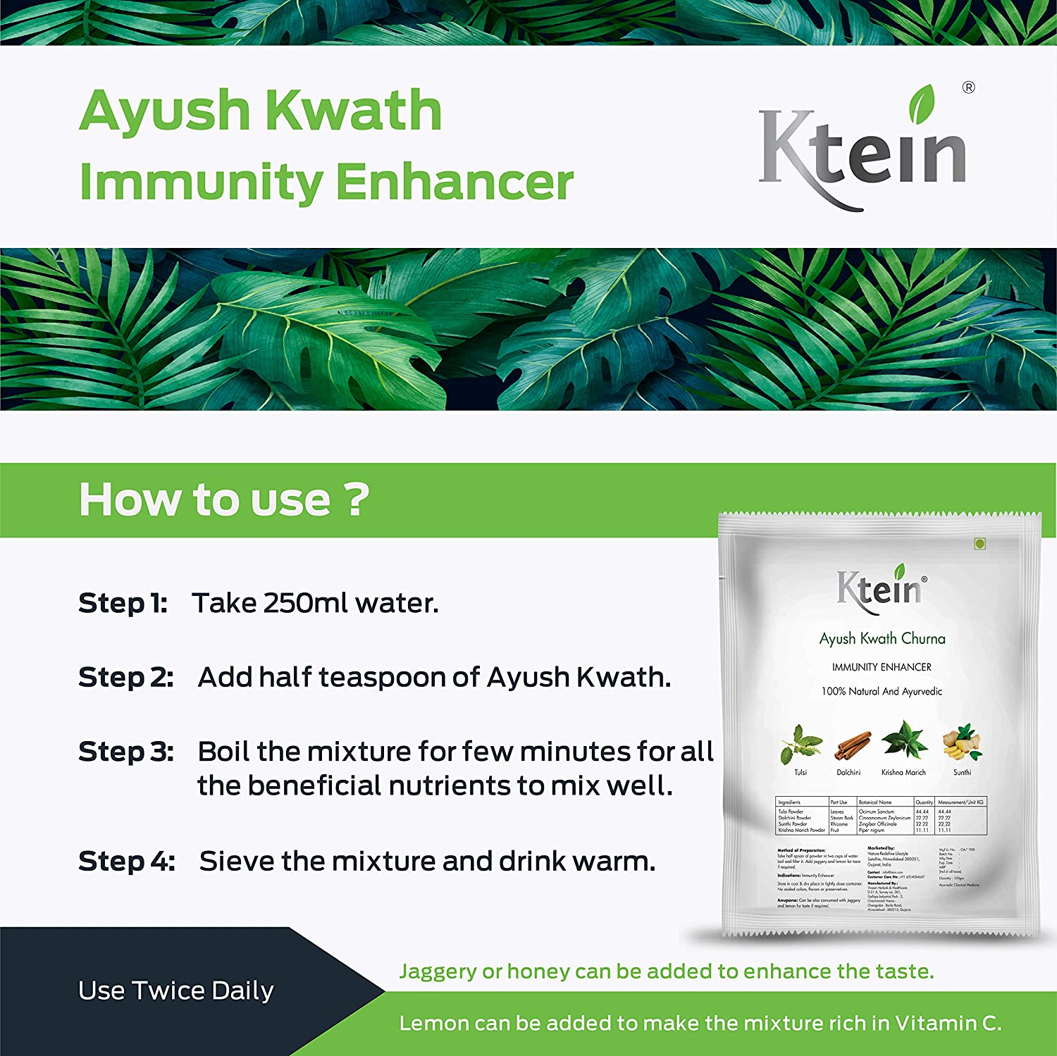 Ktein Ayush Kwath Immunity Enhancer 100gm - Ktein Cosmetics - Essencec Of Natural Hair Care Product