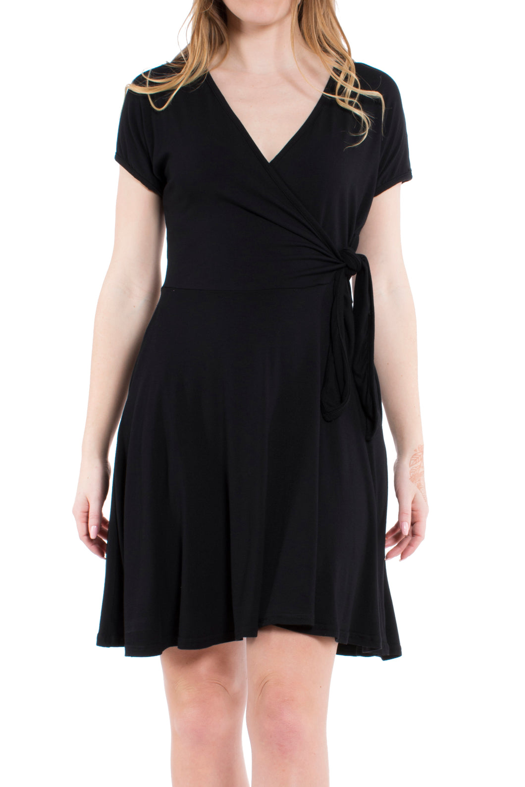 Surplice Wrap Dress - Black