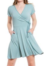 Load image into Gallery viewer, Surplice Wrap Dress - Light Blue