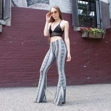 Load image into Gallery viewer, Flare Bell Bottoms - Black/White Tribal