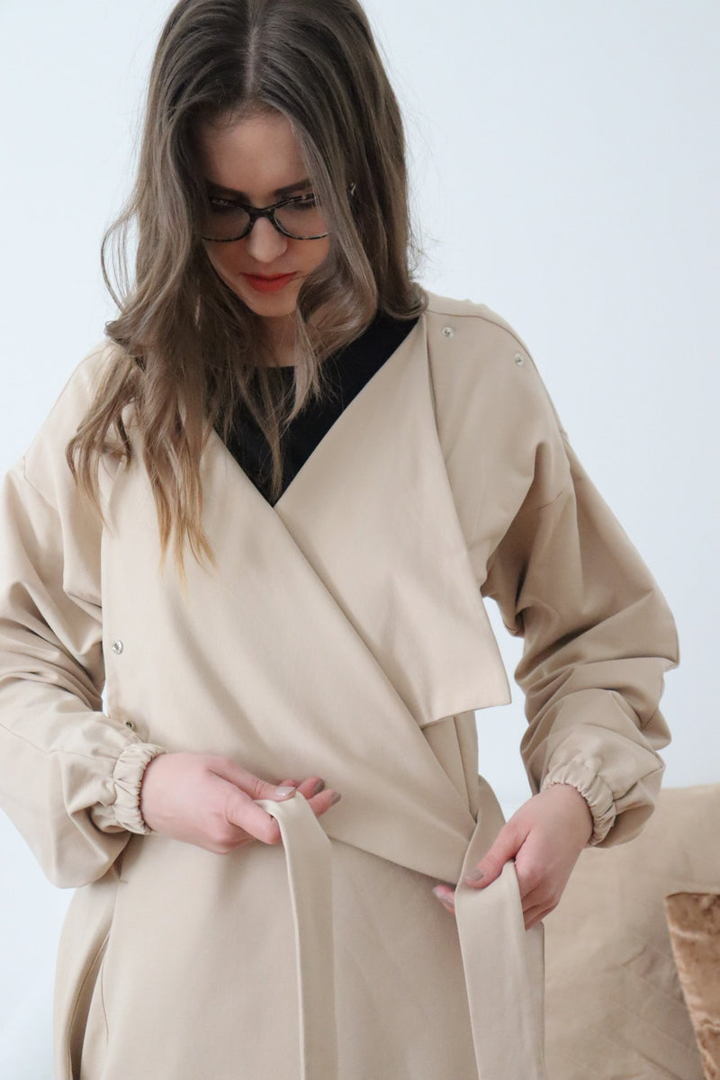 womens bathrobe beige pizsi sleepwear zero-waste sustainable wo