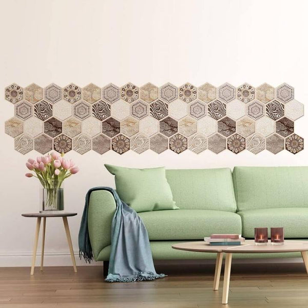 3D-Brown-Tone-Hexagon-Peel-and-Stick-Wall-Tile
