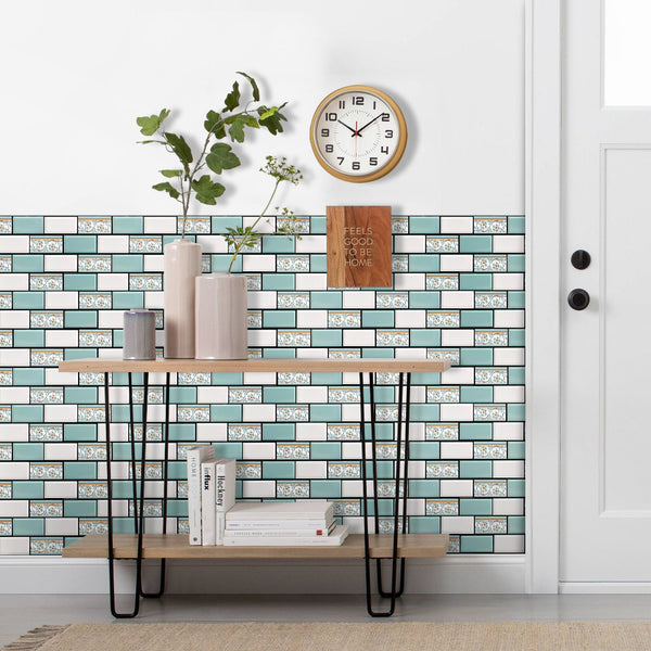 3D_Green_and_White_Mosaic_Peel_and_Stick_Wall_Tile_Commomy decor0