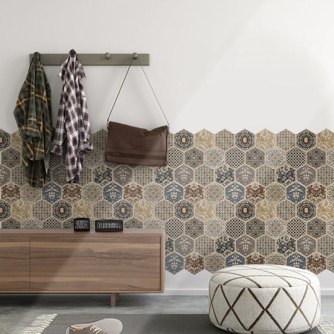 COMMOMY-3D BROWN TONE HEXAGON PEEL AND STICK WALL TILE