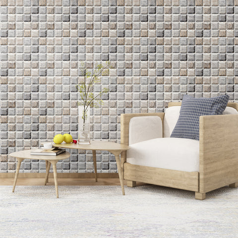 COMMOMY-3D GRAY MOSAIC STONE PEEL AND STICK WALL TILE0
